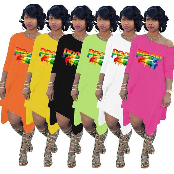 Proud Print Long Sleeve T Shirt Dress Women Off Shoulder Irregular Big Lips Skirt Summer Dress Sundress Robe Sexy Dresses Vestidos C72308