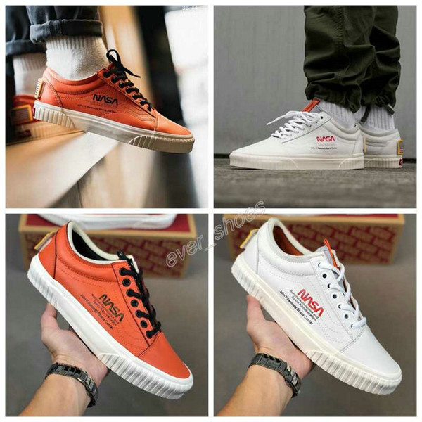 2019 new vans nasa space voyager old skool true white orange canvas designer shoes fashion women mens casual sneakers 35-44, Black