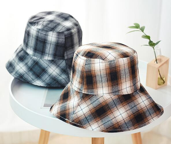 Fashion Foldable Double Side Bucket Hat Grids Canvas Ladies Cap Fishing Hat Women Cloche Hat Outldoor Sun Hats for women Ladies Dress Hats