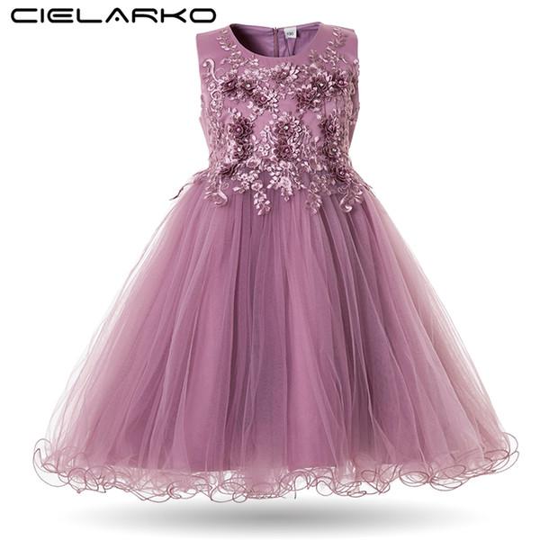 Cielarko Цветочницы Свадебное платье партии Платья для детей Pearls Формальное бальное платье 2018 Вечерние Детские наряды Тюль девушки