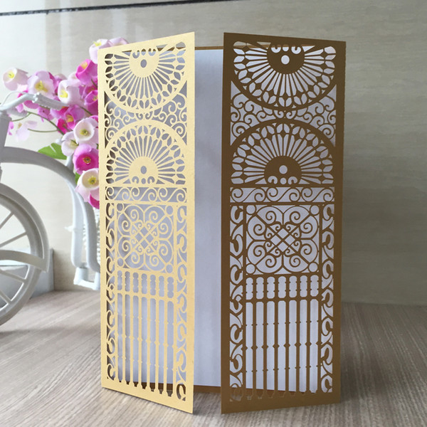 Luxury Gold Church Palace Gate Laser Cut Pearl Paper Envelop Castle Wedding Invitation Pocket Card Birthday Party Dinner Free Shippingy Christmas Card