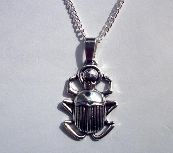Mode Halskette Art und Weise 1PCS Tibetischen Silber ägyptische Beetle / Skarabäus Anhänger Statement NecklacePendants DIY Schmucksachen für WomanMen Geschenk X4