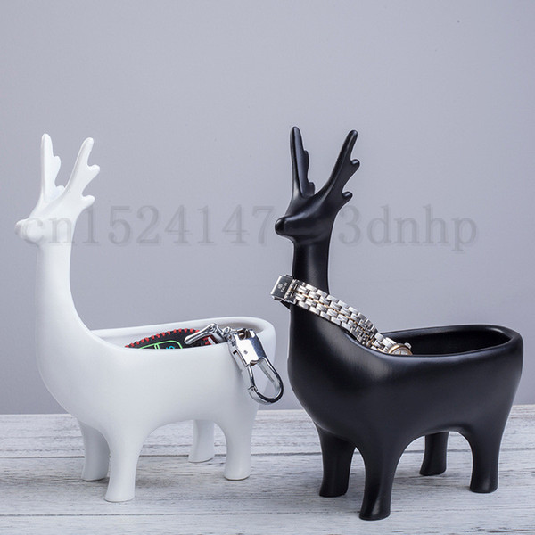 New Design Jewelry Storage Box Cute Deer Shape Home Decoration Key Organizer Plant Flower Pot Home Office Decoration White Black