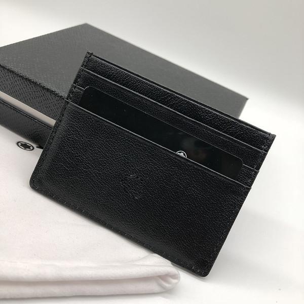 Homens de negócios de luxo titular do cartão de crédito carteira M B ID moda saco fino bolso carteira M T 6 slot para cartão de saco de pó de alta qualidade caixa de embalagem