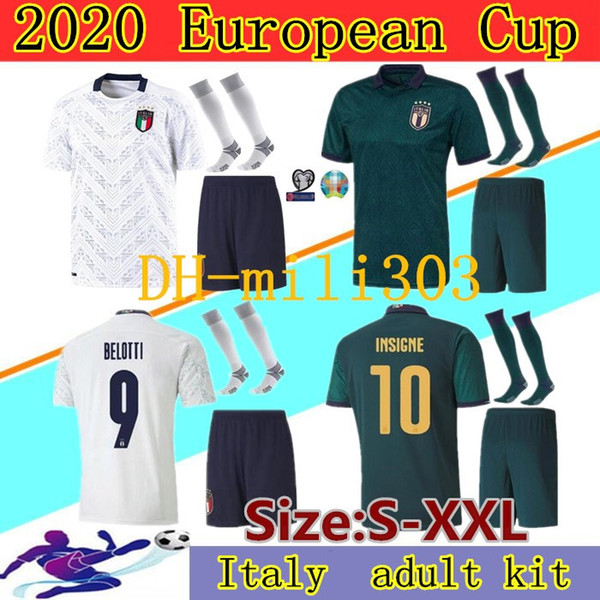 Coupe d'Europe 2019 maillots de football ITALIE kits 19 20 équipe nationale Italie INSIGNE BELOTTI KEAN uniformes Verratti chemise BERNARDESCHI de football