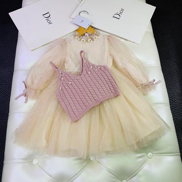 Conjuntos de chalecos para niñas ropa de diseñador para niños chaleco de suéter con cuentas de honda + vestido de manga bordado con linterna 2 piezas conjuntos de vestido de algodón con forro de otoño