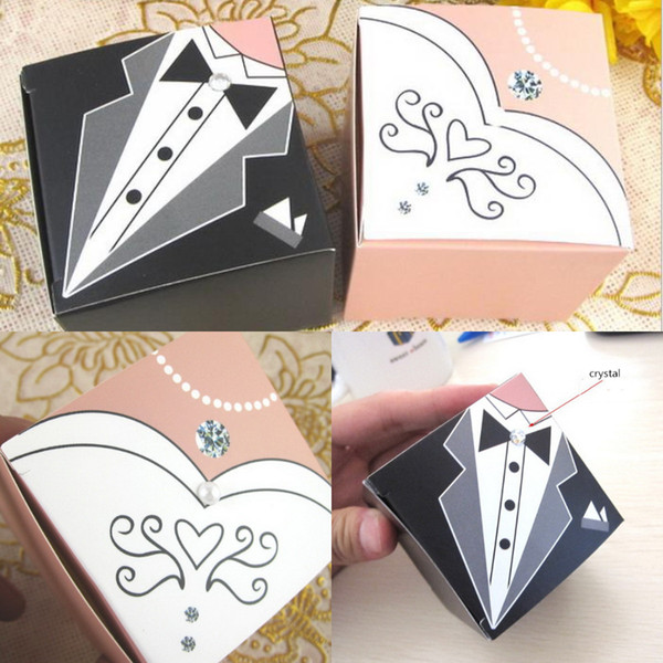 New Arrival Crystal Pearl Beaded Bride And Groom Wedding Favors Boxes Black And White Paper Box Gift Packaging Chocolate Wedding Supplies F4