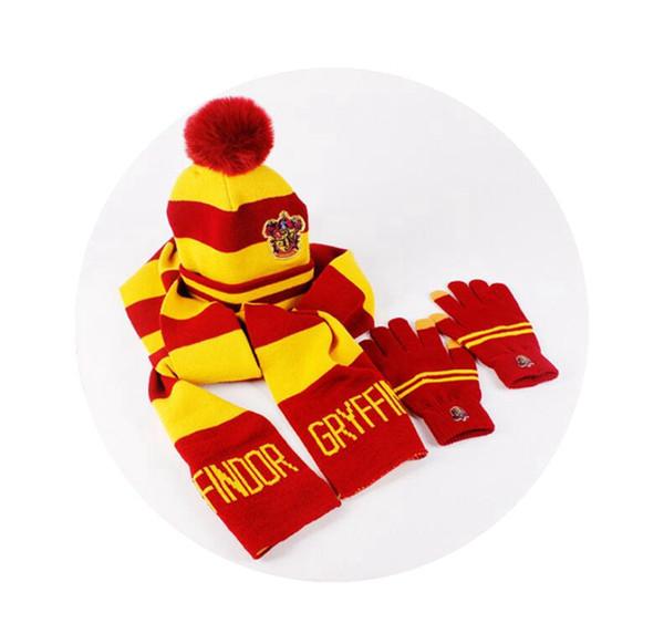 Harry Potter Pompom Hat Scarf Gloves Set Hogwarts Magic School Striped Badge Pom Hat Gryffindor Slytherin Ravenclaw Scarf HHA383.