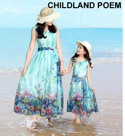2016 Mother And Daughter Summer Clothes Family Matching Outfits Mum Girl Beach Bohemian Sleeveless Floral Chiffon Maxi Dresses J190514
