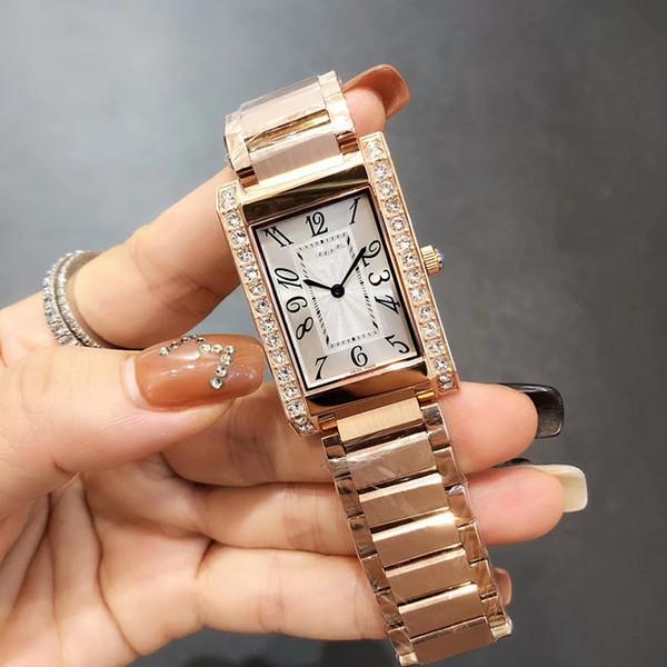 New Style Quartz Movement Diamond Case Women Watch 18K Gold Stainless Band Female Watch Free Shipping