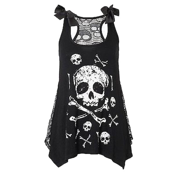 New crop top Women Fashion Skull Print Loose Lace Patchwork Casual Sleeveless summer Tops Hot Girl Vest Cropped Tops hot sale #5
