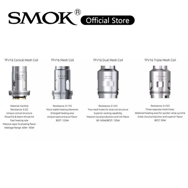 top popular SMOK TFV16 Conical Mesh Coil nexMesh Technology Dual Mesh Coils 0.15ohm TFV16 Triple Mesh Coil Replacement Coils For TFV16 Tank 100% Origial 2021