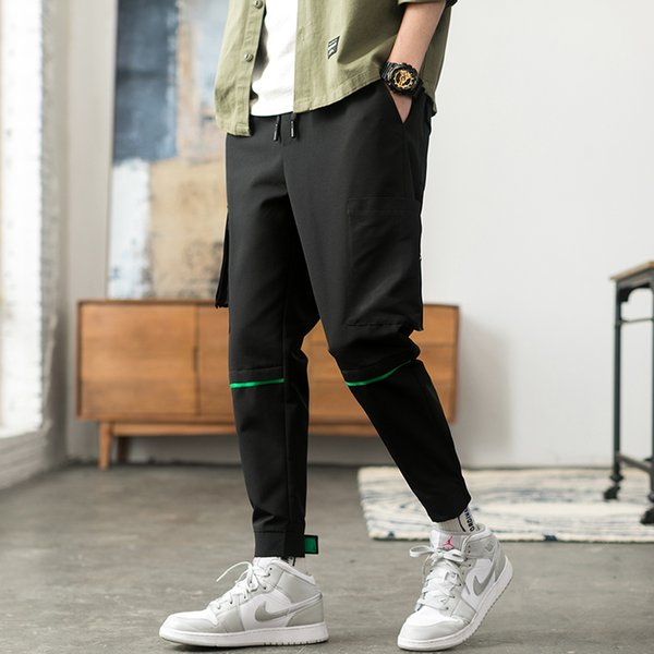 Only Discount Today Cargo Pants For Men Black Japanese Style Fashion High Street Stripe Pocket Homme Cargo Pants Zipper Elastic