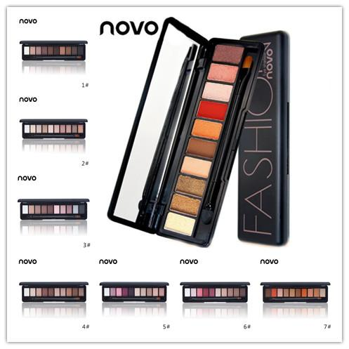 10 Colors NOVO Makeup Eye Shadow Shimmer Matte Palette Natural Make Up Light 12 styles Eyeshadow Cosmetics Set with Brush 24