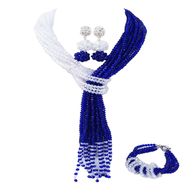Royal Blue Clear AB African Wedding Beads Party Jewelry Set Crystal Nigerian Necklace Earrings Sets for Women 10WJK08