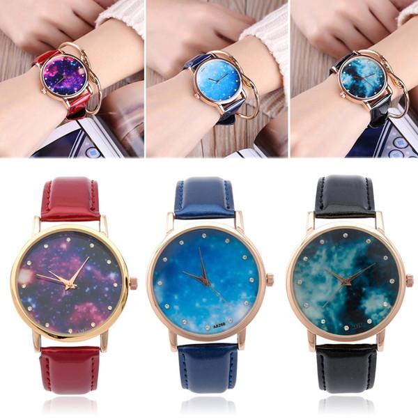 Shellhard Fashion Elegant Women's Casual Star Sky Leather Watch Space Pattern Rhinestone Leather Quartz Wrist Watch Ladies Gift