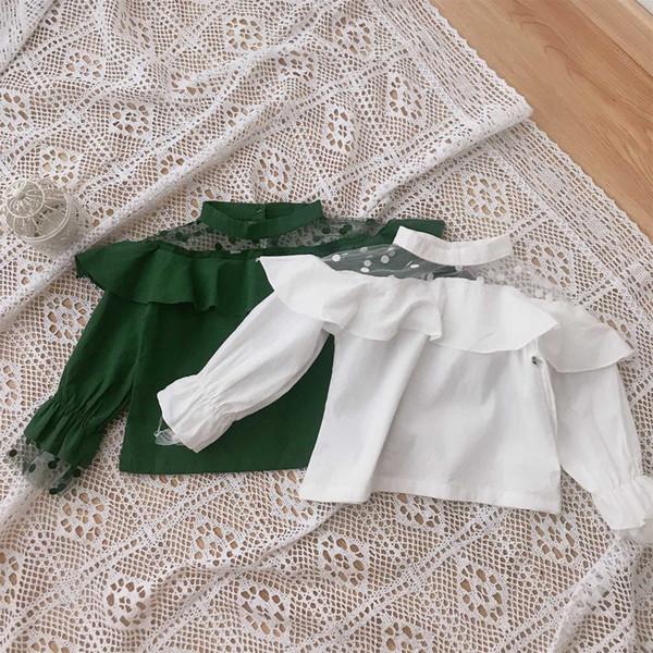 6c252cd73 Compre Blusa De Encaje Para Niña Camisas De Manga Larga Para Bebés Ropa De  Primavera Y Otoño Para Bebés Ropa Para Niñas Top Hollow Out Dot Solid ...