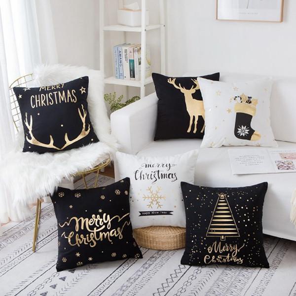 45 * 45CM Merry Christmas Yastık Kılıfı Yumuşak Kare Pamuk Keten Kapak Yastık Ev Xmans Dekor Parti Hediye TTA2142