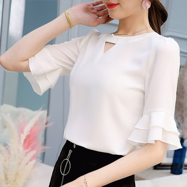 Spring-Summer Korean Version of Womens Clothing Shirt Fashion Wild Casual Shirt-Solid Color Slim-Fit Chiffon Blouse Spring-Summer Korean Version of Womens Clothing Shirt Fashion Wild Casual Shirt-Solid Color Slim-Fit Chiffon Blouse