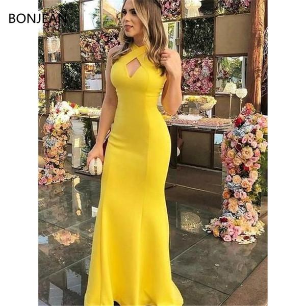 Cetim Sereia Moda Vestidos de Baile Longo Sem Mangas Bainha Halter Andar de comprimento Ruffles Formal Fancy Evening Dress Gowns 2019
