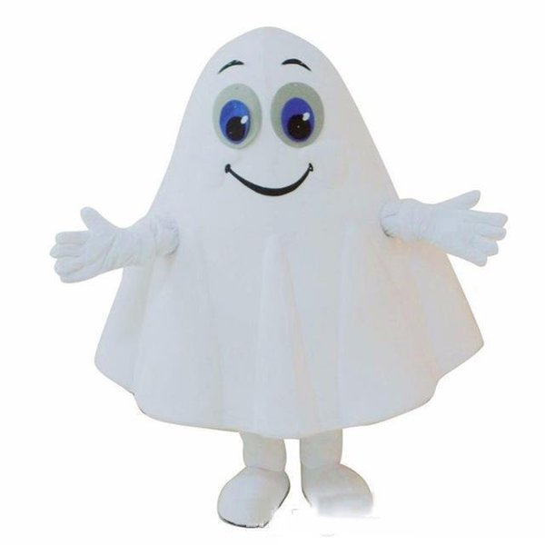 Halloween White Ghost Mascot Costume Cartoon specter Anime theme character Christmas Carnival Party Fancy Costumes Adult Outfit