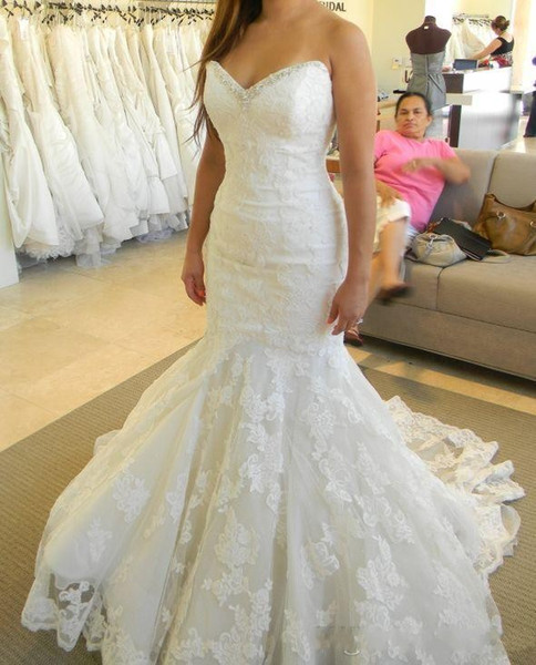 2019 Bling Bling Lace Mermaid Wedding Dresses Sweetheart Ruffles Real Picture Crystal Ivory Bridal Gowns Custom Made Open Back Lace-up Dress