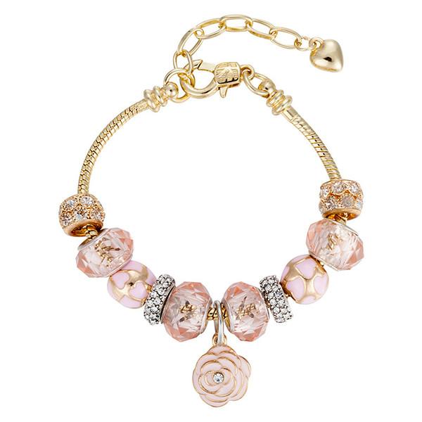 New fashion Ale DIY flowers drip oil pink crystal Fit Pandora beads bracelets 18K gold plated bracelet women love charm bracelets jewelry