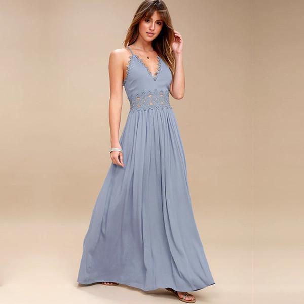 Elegant Backless Strap Long Dress Women Hollow Out Evening Summer Beach Dress Party Sexy Blue Maxi Dresses Vestidos Sundress J190614