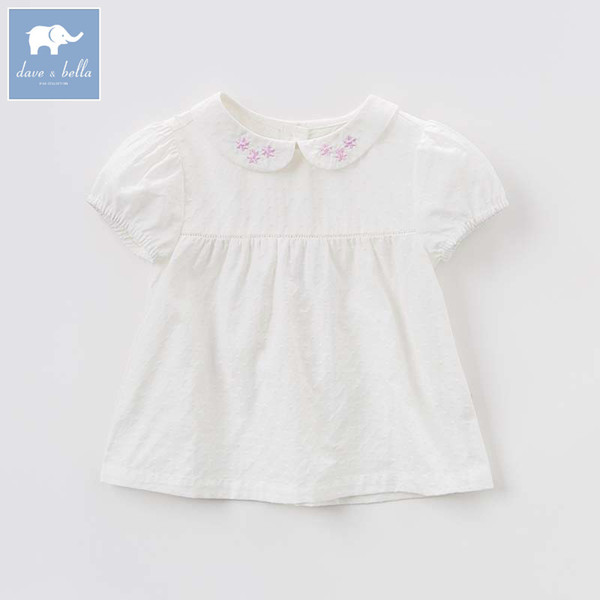dave bella summer baby girls Lolita blouse children lovely print shirt toddler infant short sleeve tops
