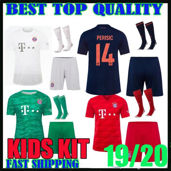 niños kit 19 20 Bayern Múnich distancia tercer jerseys caseros LEWANDOWSKI 2019 2020 HERNANDEZ Coutinho Perisic niño muchachos fijó camisetas de fútbol