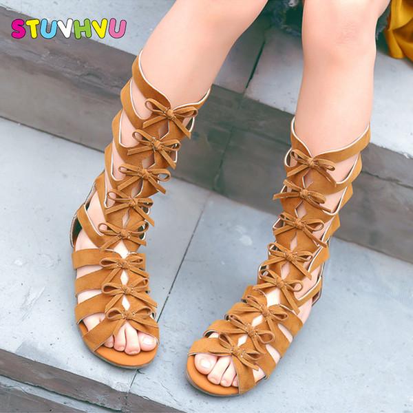 2019 meninas sandálias gladiador botas de couro esfoliante verão marrom preto high-top de moda romano sandálias criança sapatos de bebê da criança