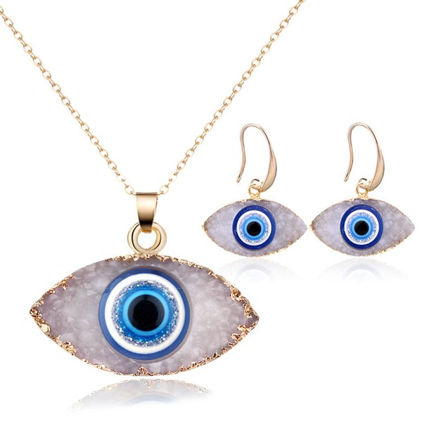 Trendy Evil eyes Pendant Necklace Drop Earrings For Women Chain Chokers Druzy Stone Jewelry Sets Female Wedding Party Gifts
