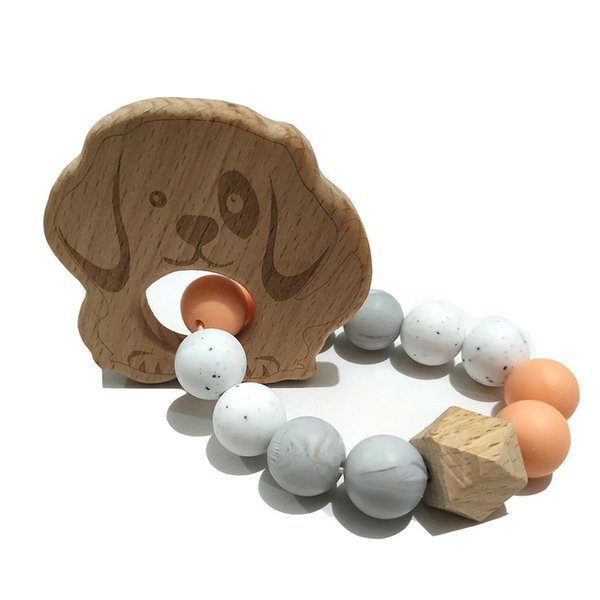 Natural Wooden Food Grade Teether Bracelet Silicone Beads Baby Teether Bracelets Nursing Toys Gift DIY Jewelry Teething Toy