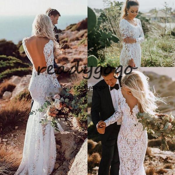 Mermaid Open Back Boho Wedding Dresses Lace Long Sleeves Beach Garden Country Church Beach Bride Bridal Gown Wedding Dress Affordable Wedding Dress
