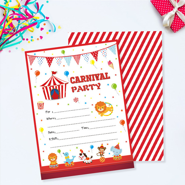 Carnival Party Invitations Cards Cartoon Circus Animals Invitation Kids Carnival Theme Birthday Party Favor Decorations Zz005 Cards For Christmas