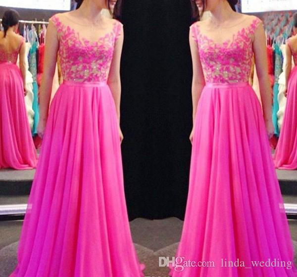 2019 Dark Fuchsia Sleeveless Evening Dress Jewel Sheer Neck Applique Long Formal Holiday Wear Prom Party Gown Custom Made Plus Size