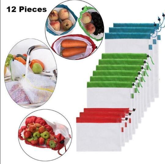 12PCS Réutilisable Mesh produire Sacs fruits Sacs Léger Légumes Sac 3 Tailles