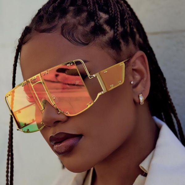 Oversized trasparente Verde Marrone Occhiali da sole donne Rihanna Designer Cancella Shades Italia di marca di alta qualità occhiali grandi uomini Occhiali UV400