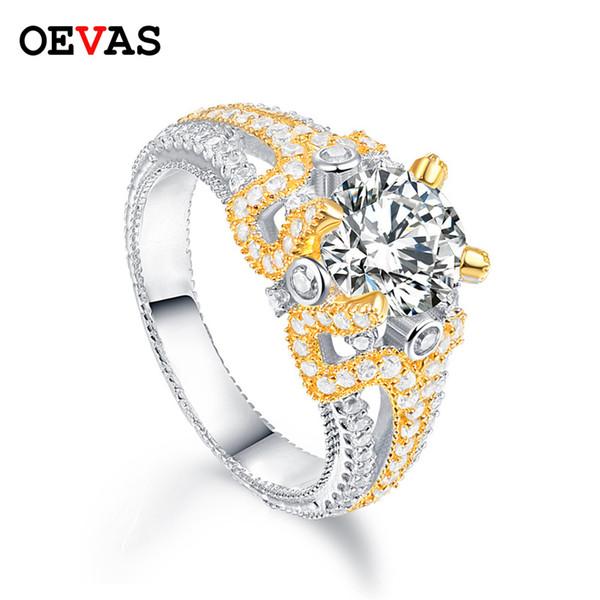 Kadınların Altın rengi Tam Zirkon Nişan takı Hediyeler için gerçek 925 gümüş Köpüklü CZ Düğün halkaları