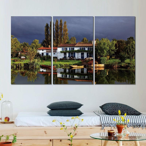 3 sets cottage house sky grass trees canvas print arts pictures for dining room decor