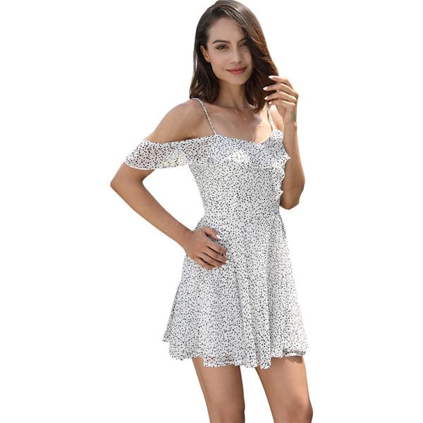 Compre Mujeres Verano Correas Vestido De Playa Sexy Con Cuello En V Espalda Abierta Gasa Con Cordones De Volantes Mini Vestidos Casual Vestido Blanco