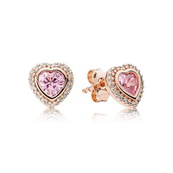 S925 Sterling Silver Pink Love Heart Earrings 18K Rose Gold Plated Earrings Fit Pandora Jewelry Stud Earring Women Wedding Gift with Box