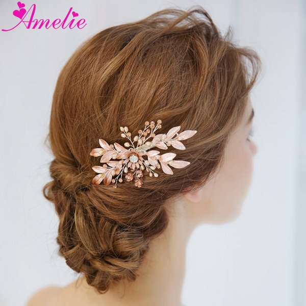 Wedding Barrette Freshwater Pearls Bridal Hair Side Clip Pink Color Flower Girl Headpiece For Celebrity Dress