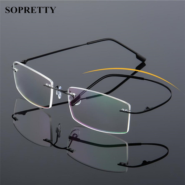 top popular Classic Mens Titanium Rimless Glasses Frames , Spring Temple Myopia Optical Frame , Ultra-light Frameless Eyeglasses With bag and cloth A858 2021