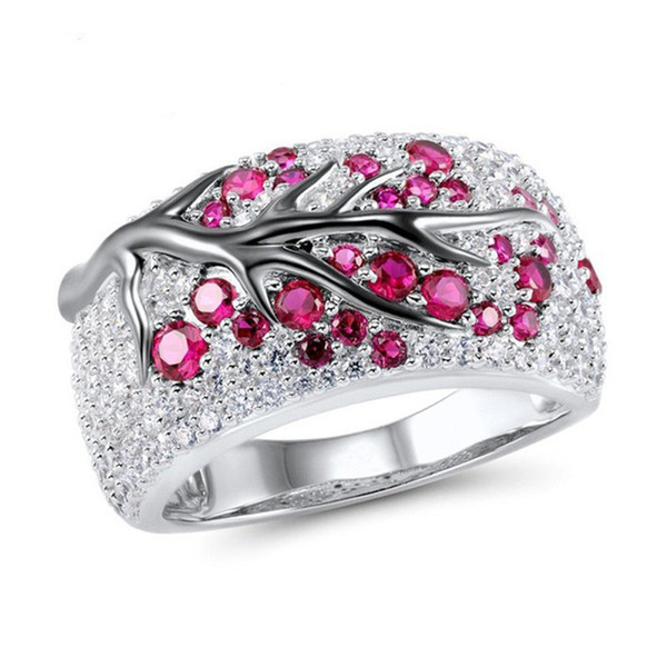 top popular Crystal Tree Branch Ring New Diamond Rings Wedding Ring Gift for Women Fashion Jewelry 080492 2020