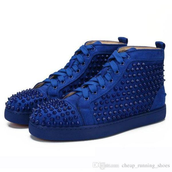 Sapatos 2019 sapatos Bottoms vermelhas Designer Fashion Designer Marca Studded SpiSkes Flats casual para os amantes das mulheres dos homens partido Couro Sneaker