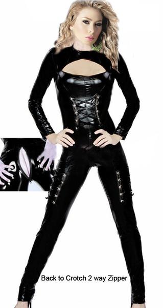 섹시한 페티쉬 코스튬 세트 바디 슈트 점프 슈트 클럽 착용 젠타이 페티쉬 클럽웨어 Women Throuth Chest Clubwear See Bodycon CA-0036
