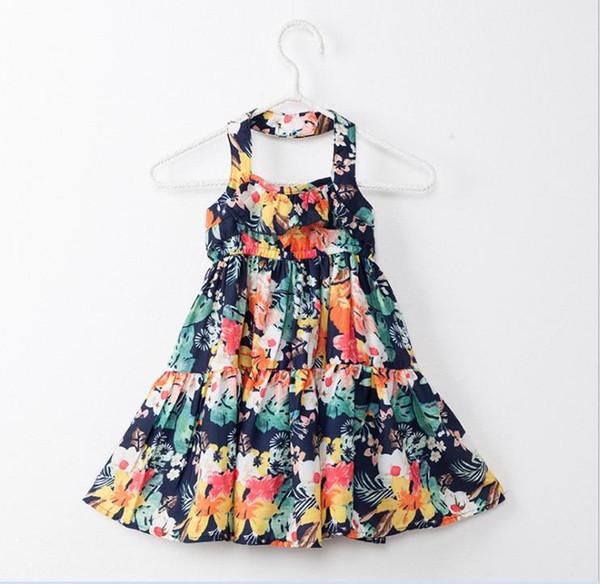 2018 Nuovo arrivo Big Girl Summer Princess Dress Bambini Floreali Abiti stampati senza bretelle Abiti Fashion Backless 6 pezzi / lotto