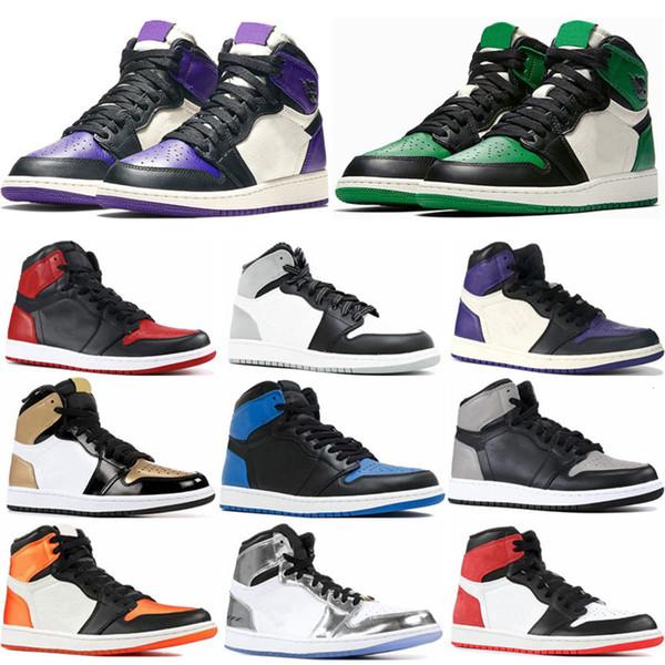 Hommes 1s Top Green Court Pin Violet Chicago Og 1 Royal Game Chaussures Bleu Basketball Backboard Sport Sneaker Designer Formateurs Taille 5,5 à 13