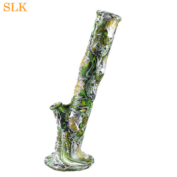 Tall printing dragon silicone bong 14 inch glass percolator water pipe with down stem dab rig detachable